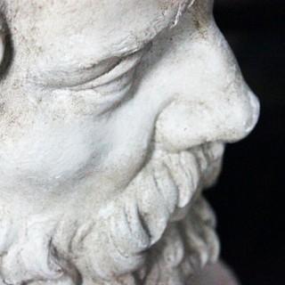 A Decorative c.1900 Classical Plaster Portrait Bust of a Bearded Greek Philosopher