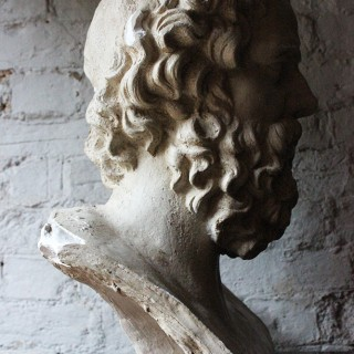 A Decorative c.1900 Classical Plaster Portrait Bust of a Bearded Greek Philosopher