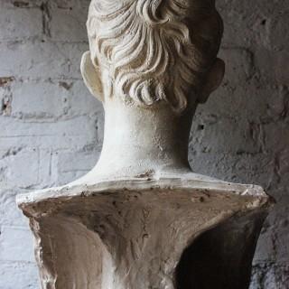 A Decorative c.1900 Classical Plaster Portrait Bust of a Roman Gentleman