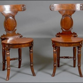 A fine pair early 19th century  mahogany HALL CHAIRS