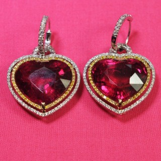 Rubellite Heart Day and Night Earrings