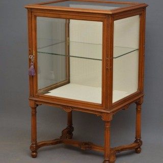 Elegant and Unusual Walnut Display Cabinet