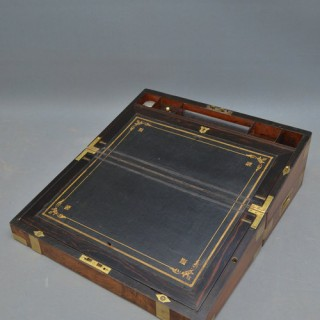 Fine Victorian Walnut and Brass Writing Slope