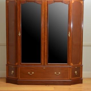 Exceptional Edwardian Mahogany and Inlaid Wardrobe