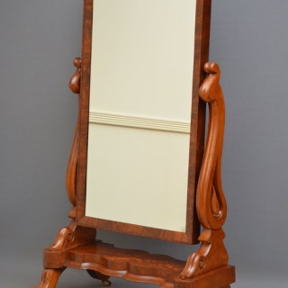 Fine Early Victorian Mahogany Cheval Mirror
