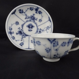 Höchst  Blue & White Porcelain Cup & Saucer - the 'Immortelle' pattern. Provenance Sotheby's The Duchess of Northumberland's Sale 1947