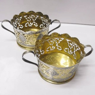 Pair of Russian Silver and Niello Bottle Stands