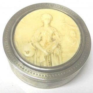 Antique French Silver Box with Ivory Carving