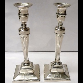 Pair of Victorian Cast Silver Candlesticks
