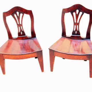 Rare 18th Century Pair Of Miniature Mahogany Chairs