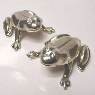 Pair of Silver Frog Boxes