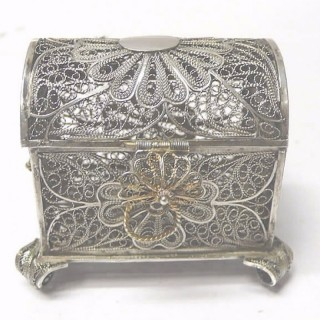 Antique Silver Filigree Box
