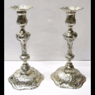 Antique Continental Silver Candlesticks