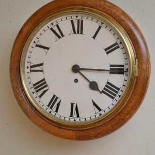 Late Victorian Oak 12″ Fusee Wall Clock