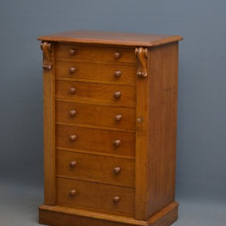 Victorian Oak Wellington Chest of Drawers