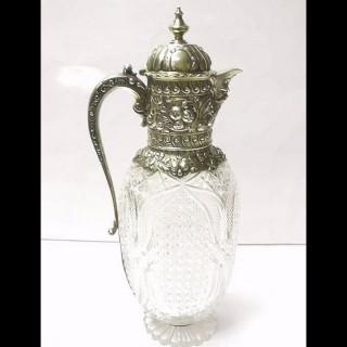 Victorian Silver and Crystal Claret Jug by Frederick Elkington