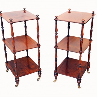 19th Century Rosewood Matched Pair Of Small Whatnots