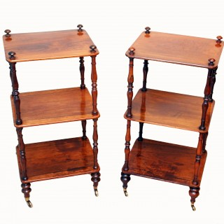 Antique Rosewood Matched Pair Of Whatnots