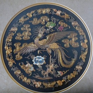 Chinese Antique Silk and Gilt Thread Roundel