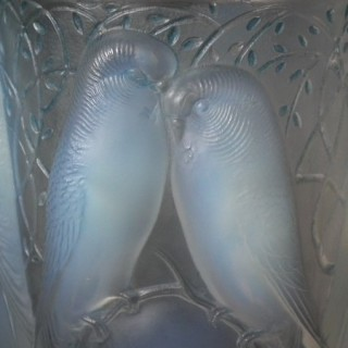 Rene Lalique Ceylan Vase - Opalescent with Blue Staining
