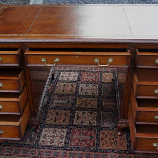 Antique Edwardian Carved Mahogany Pedestal Desk