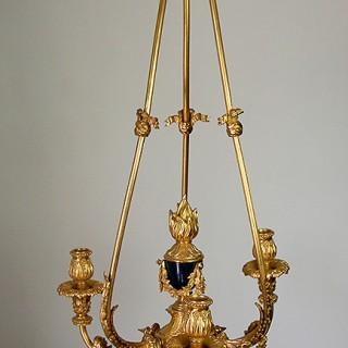 Fine 19th century Gilt Bronze three arm chandelier