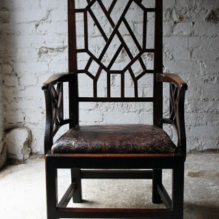 A Wonderful George III Chinese Chippendale Influence Mahogany & Leather Open Armchair c.1780