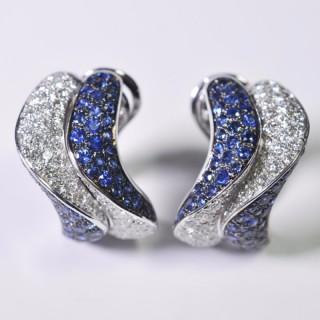 Sapphire and Diamond Méandres Earrings by Adler