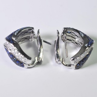 Sapphire and Diamond Méandres Earrings by Adler