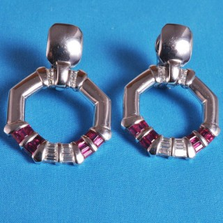 Ruby and Diamond Earrings by Avakian