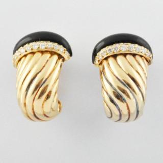 Onyx and Diamond Earrings by O.J. Perrin