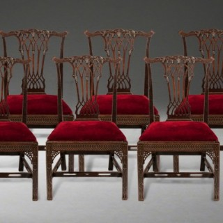A Good Set of Eight Dining Chairs in the Georgian Gothic Manner