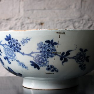 A Beautiful Large Rivet Repaired Lambeth Blue & White Delft Punch Bowl c.1760