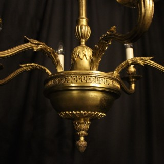 A French Bronze 6 Light Antique Chandelier