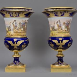 Pair of Sèvres Style Napoleonic Vases