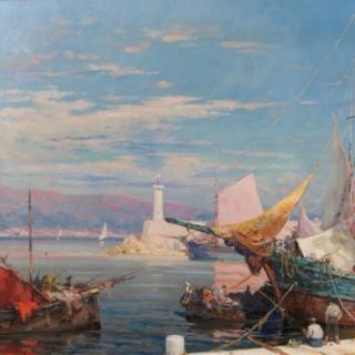 'Port de Saint Tropez', A Large Impressionistic Oil Painting, French, 1938