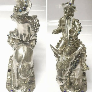 Antique Continental Silver Musician on Donkey