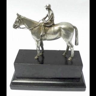 Vintage Silver Model Horse and Jockey