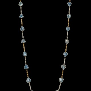 Moonstone heart chain