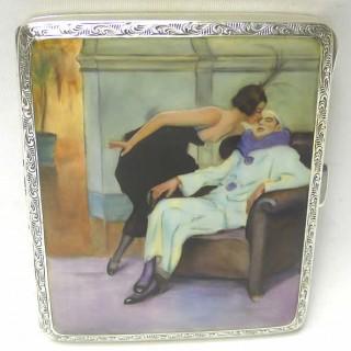 Silver and Erotica Enamel Cigarette Case