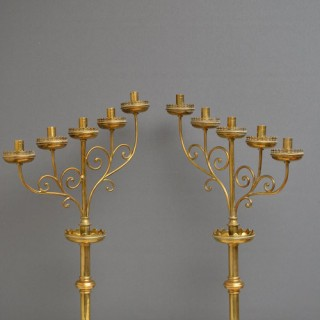 Victorian Brass Candlestick Holders