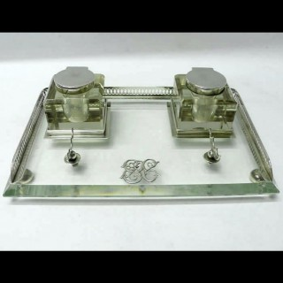 Victorian Silver and Crystal Inkstand