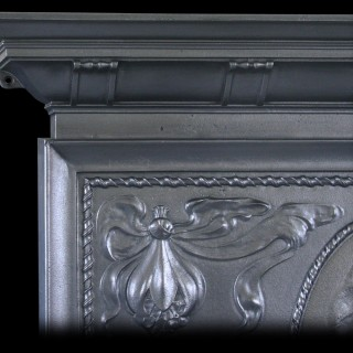 ANTIQUE CAST IRON EDWARDIAN ART NOUVEAU COMBINATION FIREPLACE WITH HORSES FROM THE CAMARGUE