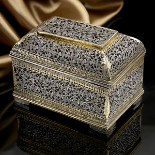 A little Indo Portuguese Silver and Parcel Gilt Box
