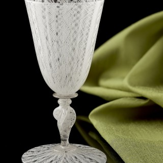 Late 17th Century Venetian Latticino Wine Glass