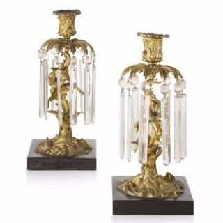 Pair of French Rococo Style Girandoles/Candlesticks