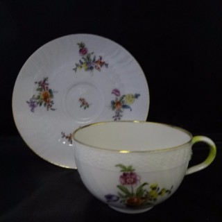 TATA DECORATING STUDIO - PORCELAIN BLANKS FROM THE HEREND FACTORY (founded c.1880)  Porcelain Cup and Saucer (Hungary, c. 1890)