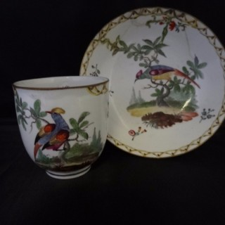 Frankenthal Cup & Saucer c. 1770 decorated with exotic birds; label attests the provenance to be the collection of W E Gladstone one time prime minister (Germany, c. 1770)