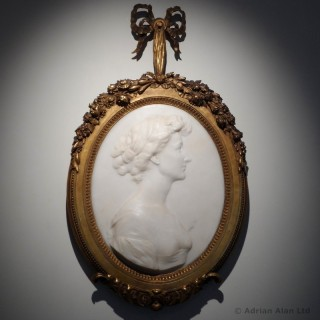 Marble Portrait Relief of a Lady  in a  Gilt-Wood Frame