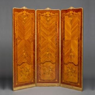 Marquetry Inlaid Kingwood Three-Fold Screen